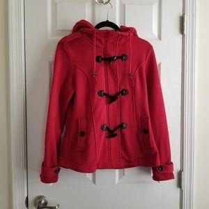 SEBBY Red Jersey Fleece Toggle Hoodie Jacket